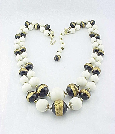 Vintage Japan White, Black And Gold Glass Bead 2 Strand Necklace