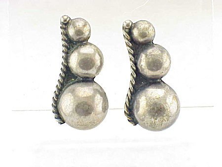 Vintage Signed Mexican Sterling Silver Screwback Earrings