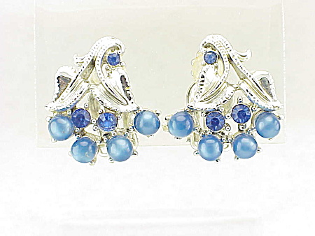 Vintage Signed Star Blue Moonstone And Rhinestone Clip Earrings