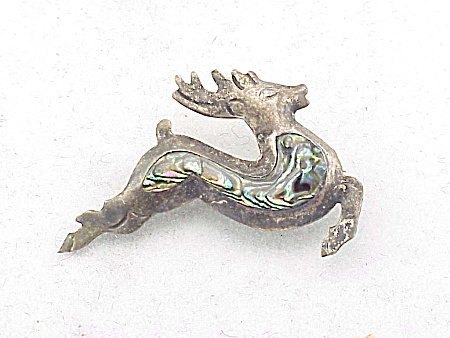 VINTAGE SIGNED TAXCO MEXICO STERLING SILVER AND ABALONE CHRISTMAS REINDEER BROOCH (Image1)