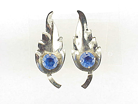 Vintage Sterling Silver Blue Rhinestone Screwback Earrings