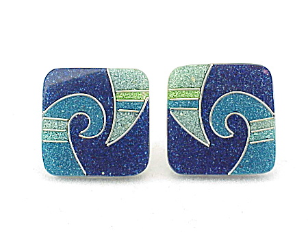 Costume Jewelry - Unique Inlaid Turquoise, Lapis And Jade Enamel Clip Earrings
