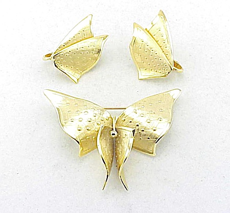 Vintage Lisner Abstract Design Butterfly Brooch And Clip Earrings Set
