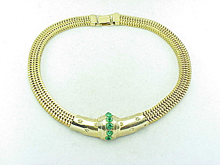 VINTAGE COSTUME JEWELRY - BROOKCRAFT GREEN & CLEAR RHINESTONE GOLD MESH CHOKER NECKLACE (Image1)