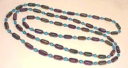 VINTAGE COSTUME JEWELRY - IRIDESCENT PURPLE & BLUE CARNIVAL ART GLASS BEAD FLAPPER NECKLACE (Image1)
