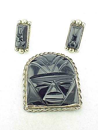 VINTAGE MEXICAN STERLING AND BLACK ONYX FACE OR MASK BROOCH AND EARRINGS SIGNED SILVER MEXICO (Image1)