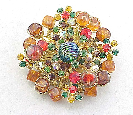 Vintage Large Fruit Salad Carved Rhinestone Brooch Pin