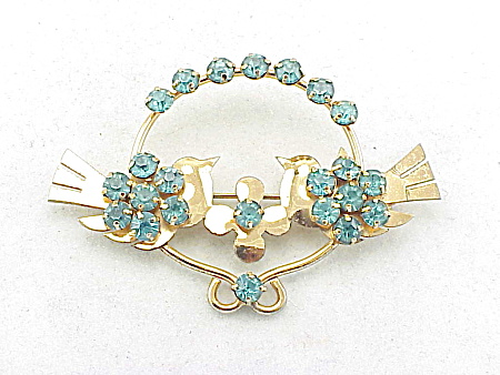 VINTAGE STERLING SILVER VERMEIL & BLUE RHINESTONE LOVE BIRD PIN BROOCH (Image1)