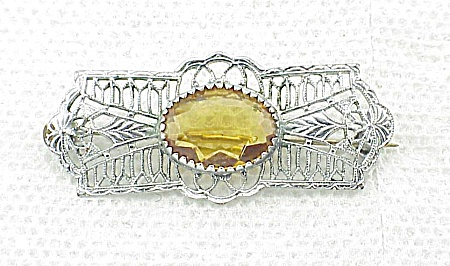 Vintage Victorian Silver Filigree And Amber Rhinestone Brooch
