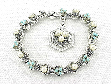 Vintage Signed Art Pearl And Turquoise Bracelet With Charm