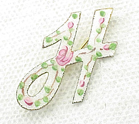 Vintage White Guilloche Enamel With Roses Letter H Initial Brooch Pin