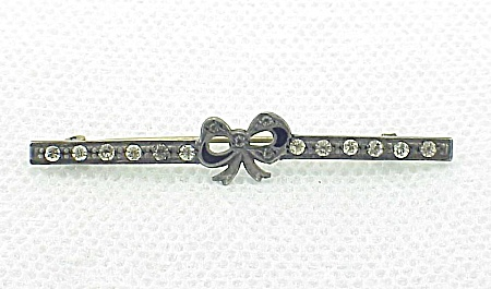 Vintage Jewelry - Victorian Or Edwardian Sterling Silver Rhinestone And Enamel Bow Bar Pin Brooch