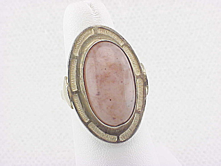 Vintage Sterling Silver & Pink Quartz Or Agate Ring Hallmarked Egypt