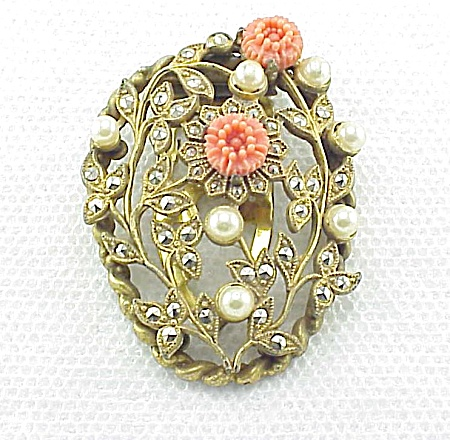 VINTAGE COSTUME JEWELRY - MARCASITE, PEARL & CARVED CORAL FLOWERS DRESS CLIP (Image1)