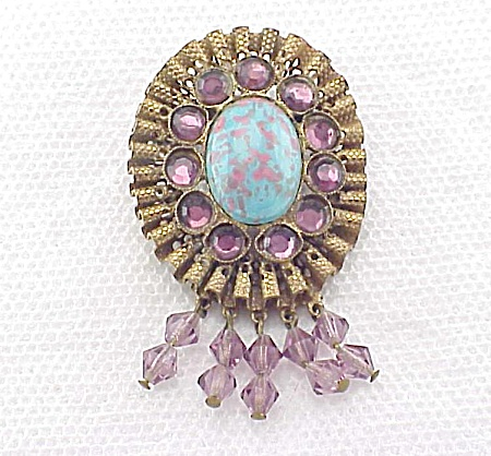 Vintage Turquoise Glass And Amethyst Rhinestone Brooch Pin