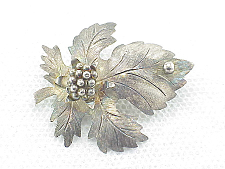 VINTAGE JEWELRY - TAXCO MEXICO STERLING SILVER LEAF BROOCH SIGNED MMM (Image1)