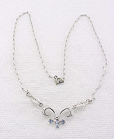 VINTAGE JEWELRY - ESPO STERLING SILVER FILIGREE & BLUE RHINESTONE NECKLACE (Image1)