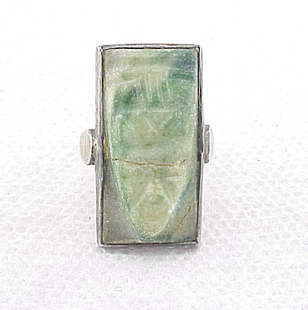 Vintage Jewelry - Possible Mexico Sterling Silver Green Stone Face Or Mask Ring
