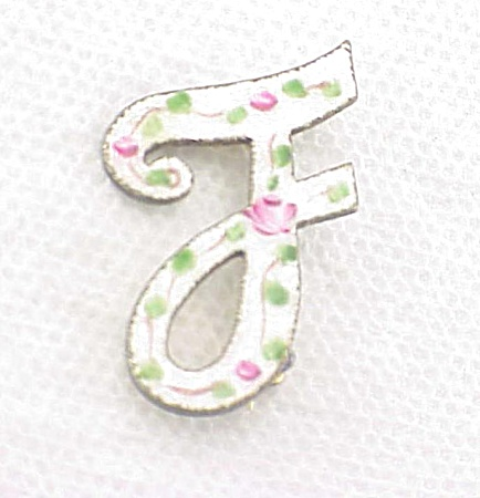 Vintage White Guilloche With Pink Roses Enamel Initial F Brooch Or Pin