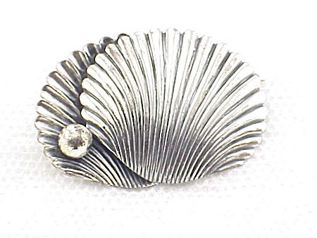 Vintage Sterling Silver Shell And Pearl Brooch Signed Michele