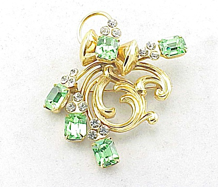 VINTAGE ART NOUVEAU STYLE GREEN RHINESTONE BROOCH OR PENDANT (Image1)