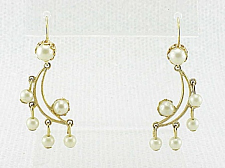 DANGLING CRESCENT MOON WITH PEARLS PIERCED EARRINGS (Image1)