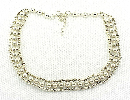 Costume Jewelry - Unique Possible Sterling Silver Three Row Bead Choker Necklace