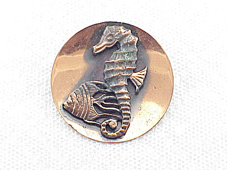 Vintage Copper Seahorse And Fish Brooch Or Pin