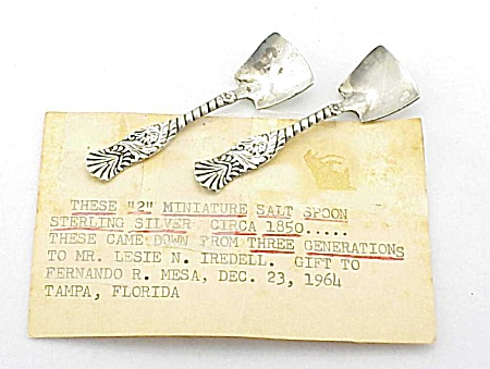 2 Antique 1850's Repousse Sterling Silver Individual Salt Spoons