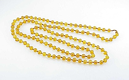 Vintage Amber Glass Bead Flapper Length Necklace