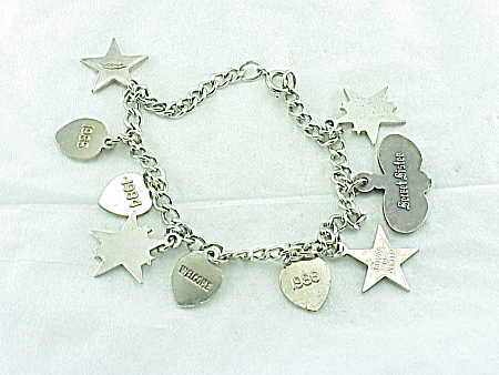 Beta Epsilon Phi Sorority Silver Charm Bracelet Secret Sister Image1
