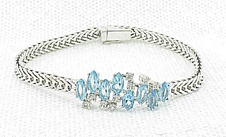 Italian Sterling Silver Bracelet With Blue And Clear Rhinestones