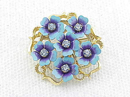 VINTAGE AVON BLUE ENAMEL AND RHINESTONE FLOWERS BROOCH OR PENDANT (Image1)