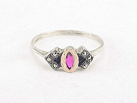 Vintage Costume Jewelry - Czech Sterling Silver, Marcasite And Ruby Red Stone Ring