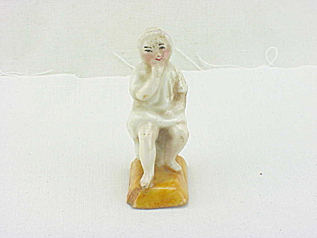 Vintage Porcelain Child On Chamber Pot Potty Figurine