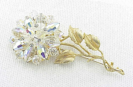 Vintage Aurora Borealis Glass Crystal And Rhinestone Flower Brooch