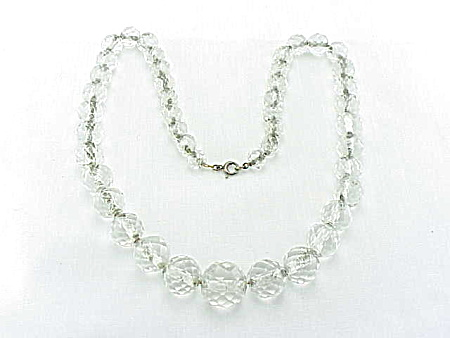 VINTAGE COSTUME JEWELRY - FACETED CRYSTAL BEAD NECKLACE STRUNG ON STERLING SILVER CHAIN (Image1)