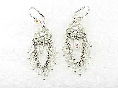 DANGLING CRYSTAL GLASS AND RHINESTONE CHANDELIER PIERCED EARRINGS (Image1)