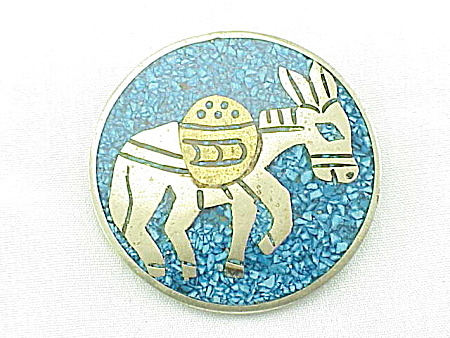 VINTAGE COSTUME JEWELRY - MEXICAN SILVER & INLAY DONKEY BROOCH OR PENDANT SIGNED METALES (Image1)