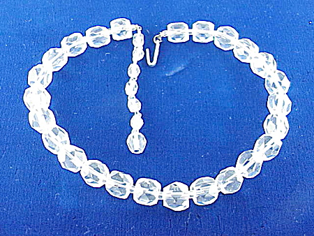 VINTAGE COSTUME JEWELRY - CUT CRYSTAL GLASS CHOKER NECKLACE SIGNED JAPAN (Image1)