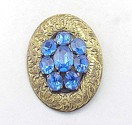 Vintage Art Deco Brass And Blue Rhinestone Dress Clip