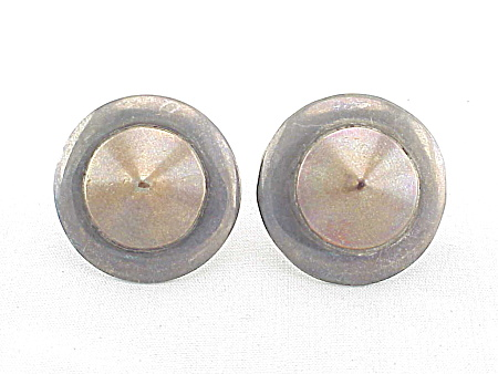 VINTAGE COSTUME JEWERLY - SIGNED MEXICAN STERLING SILVER & COPPER SCREWBACK EARRINGS (Image1)