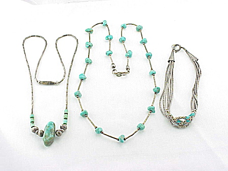 Native American Sterling Silver And Turquoise Necklaces And Bracelet