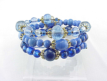 Vintage Dark, Medium And Light Blue Art Glass Bead Coil Bracelet