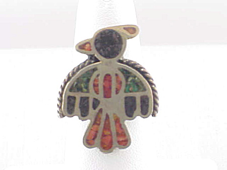 Native American Zuni Sterling Silver And Inlay Thunderbird Ring