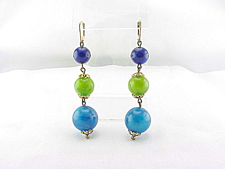 VINTAGE COSTUME JEWELRY - 14K GOLD FILLED DANGLING PEARL LUCITE BALL PIERCED EARRINGS (Image1)