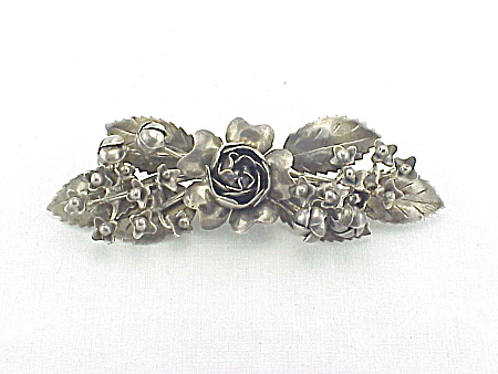 VINTAGE COSTUME JEWELRY - HOBE' DESIGN PATENTED STERLING SILVER  FLOWERS AND LEAVES BROOCH (Image1)