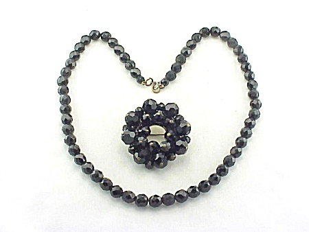 Vintage French Jet Black Faceted Glass Necklace And Brooch
