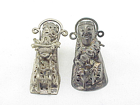 Antique Chinese Oriental Silver Man Woman Hair Or Clothing Ornaments