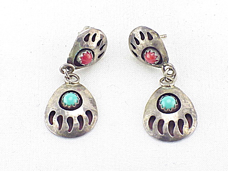 Native American Sterling Silver Turquoise And Coral Pierced Earrings